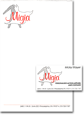 Migia notepad and business card